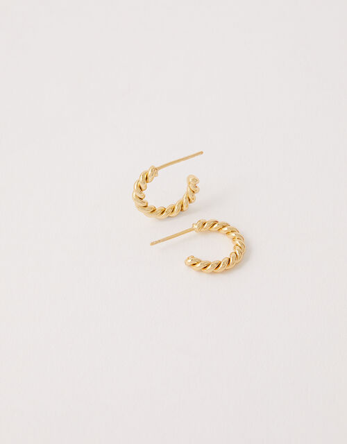 Gold-Plated Twist Mini Hoops, , large