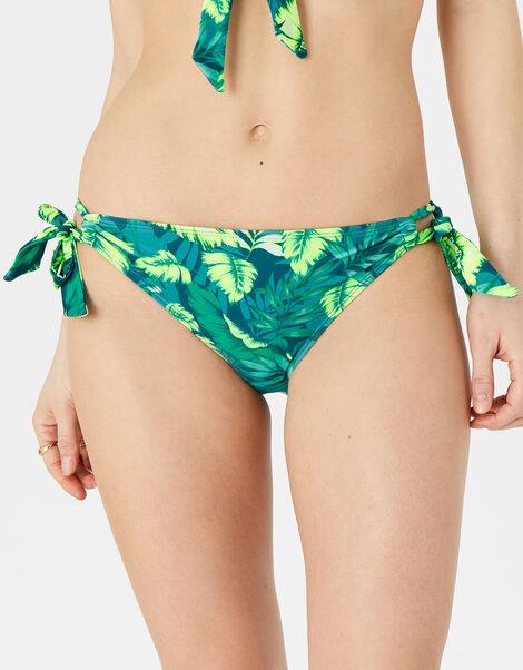 Leaf Print Tie Side Bikini Briefs Green, Green (GREEN), large
