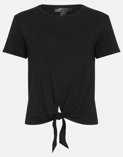 Knot Front Gym Top Black, Black (BLACK), large