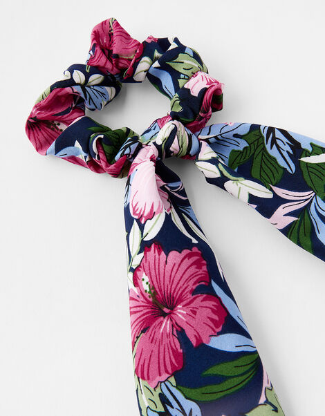 Floral Scarf Hair Scrunchie, , large