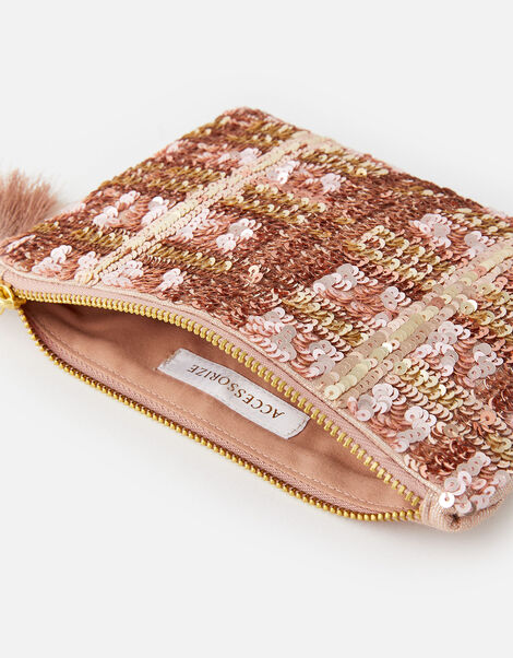 Check Sequin Pouch Bag, , large