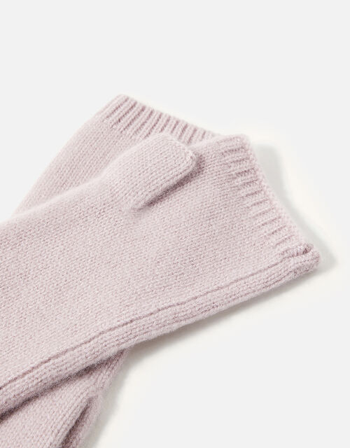 Longline Fingerless Gloves in Cashmere , Pink (PINK), large
