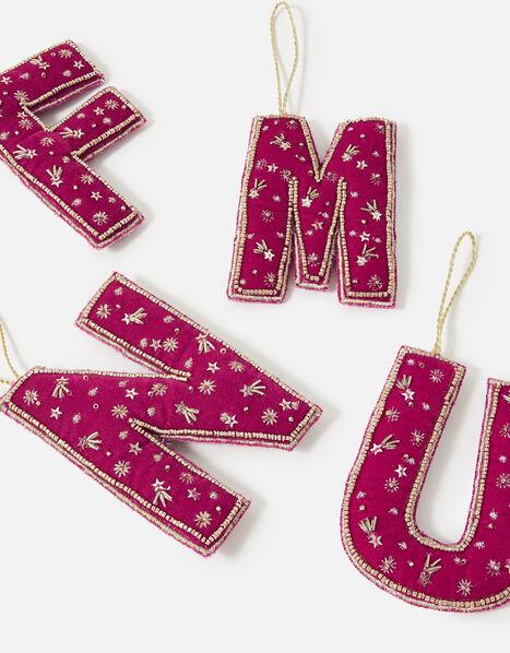 Embellished Initial Hanging Decoration Pink, Pink (FUCHSIA), large