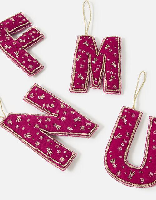 Embellished Initial Hanging Decoration, Pink (FUCHSIA), large