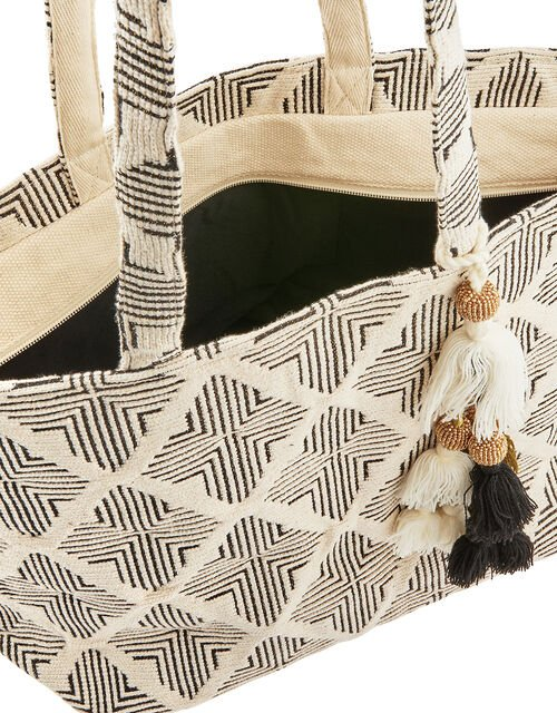 Geo Woven Beach Tote Bag, , large