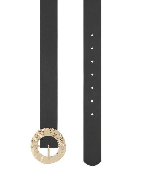 Hammered Metal Buckle Waist Belt, Black (BLACK), large