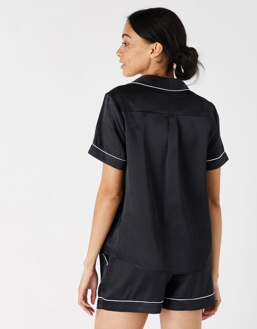 Satin Shirt and Shorts PJ Set , Black (BLACK), large