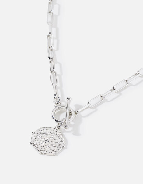 Platinum Plated T-Bar Coin Necklace, , large