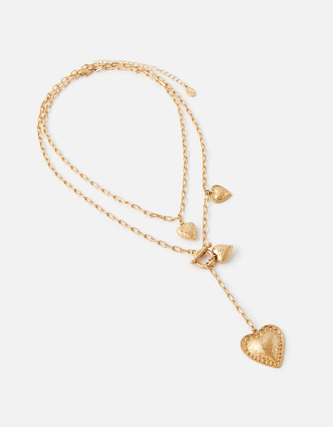 Heart Charm Layered Necklace, , large