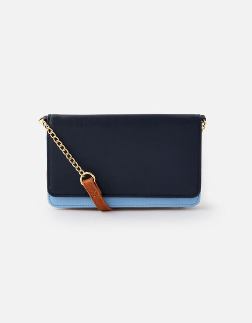 Pia Colourblock Chain Purse, Blue (BLUE), large