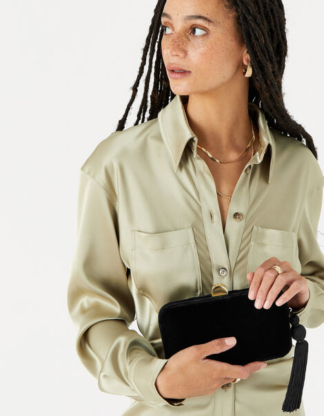 Velvet Hardcase Clutch Bag Black, Black (BLACK), large