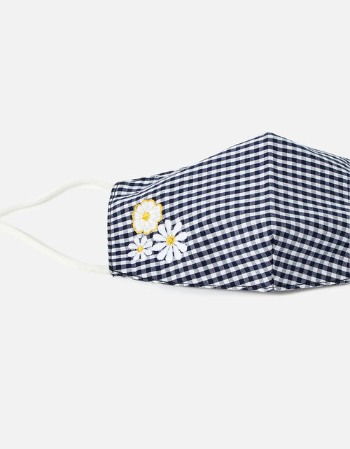 Gingham Embroidered Daisy Face Covering , , large