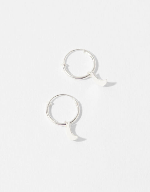 Sterling Silver Moon Charm Hoop Earrings , , large