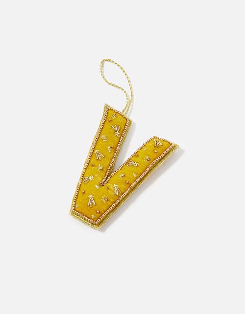 Embellished Initial Hanging Decoration, Yellow (OCHRE), large