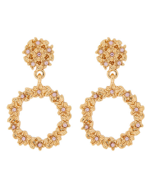 Textured Circle Doorknocker Earrings, Gold (GOLD), large