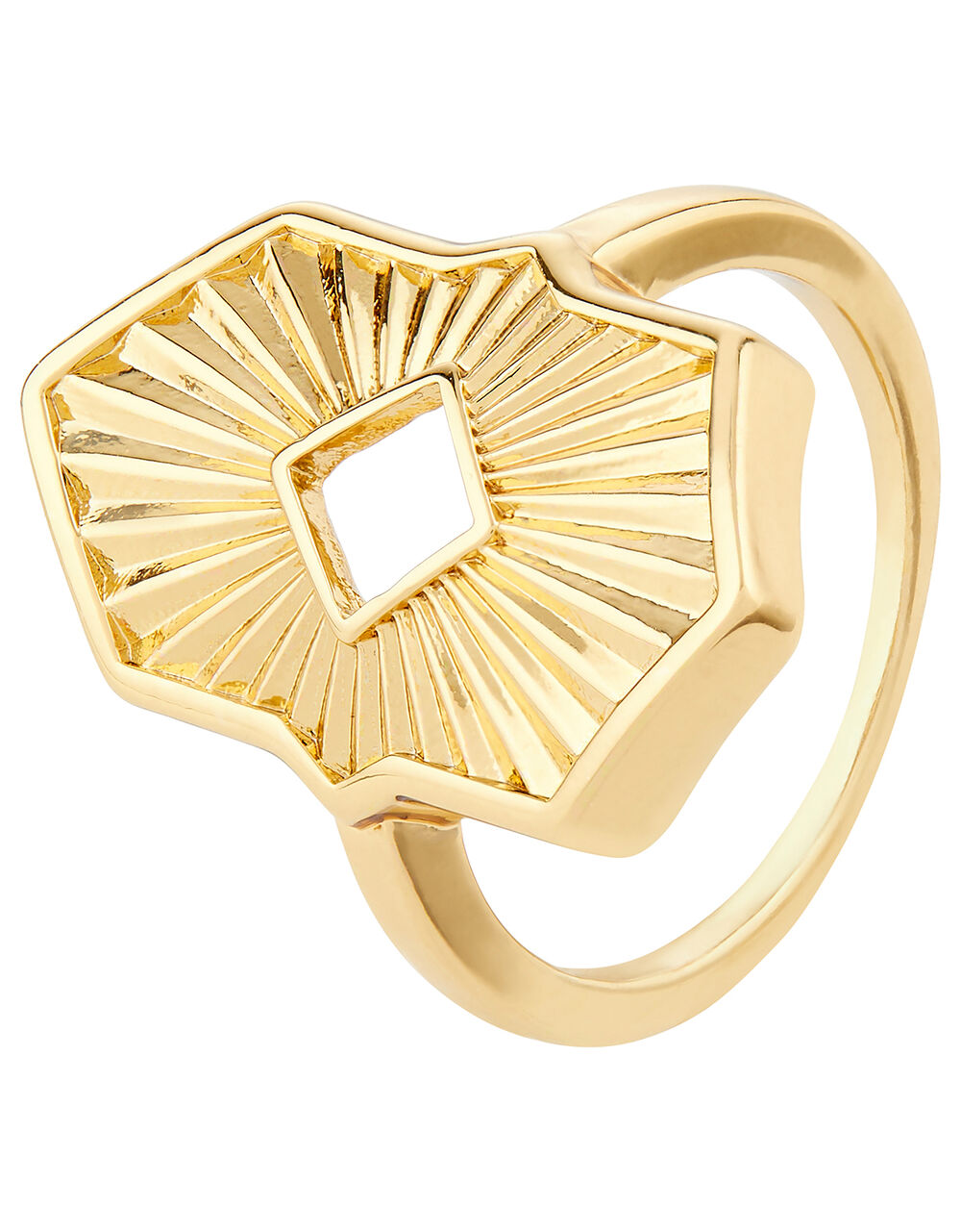 Sun Ray Hexagon Ring, Gold (GOLD), large