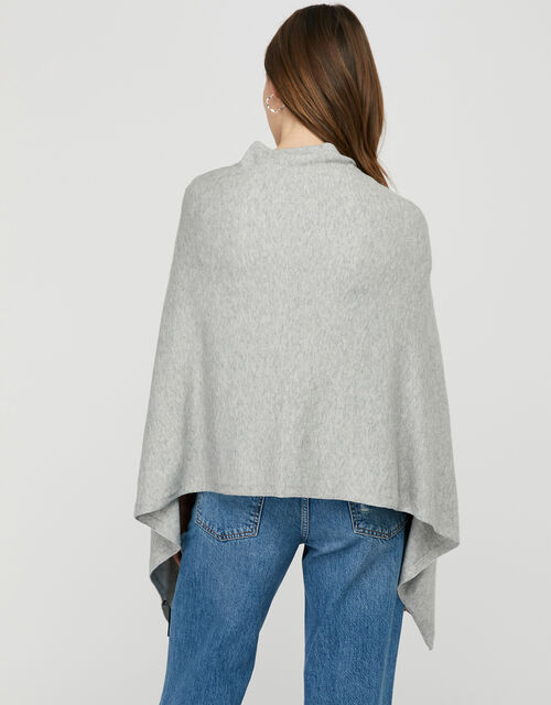 Button-Up Knitted Wrap, Grey (GREY), large