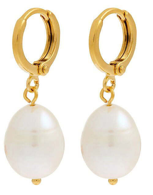 Gold-Plated Irregular Pearl Earrings, , large