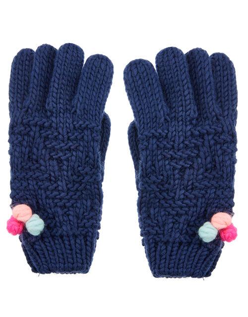 Pom-Pom Knit Gloves, Multi (BRIGHTS-MULTI), large