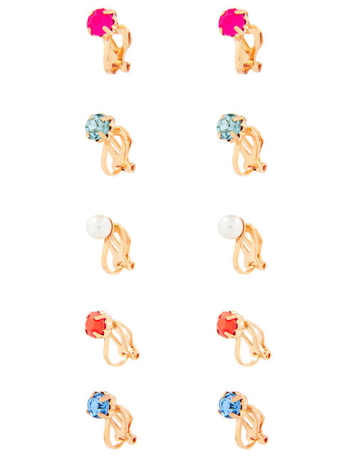 5 Stud Clip On Earring Multipack, , large