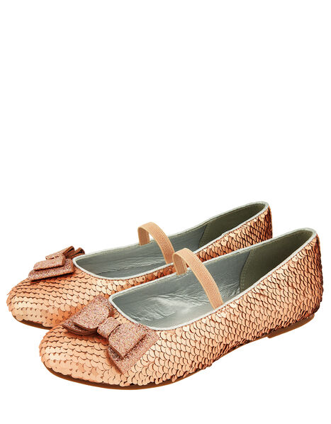 Sequin Bow Ballerina Flats Gold, Gold (GOLD), large