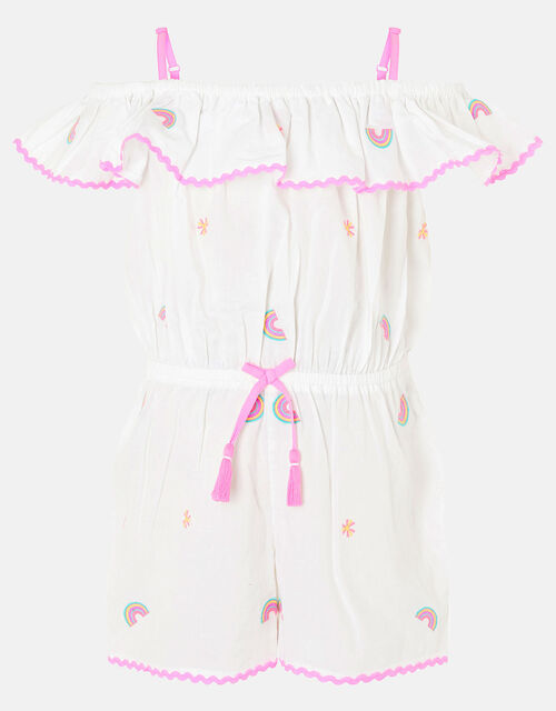 Rainbow Playsuit in Pure Cotton, White (WHITE), large