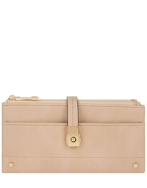 Push-Lock Faux Leather Wallet, Nude (NUDE), large