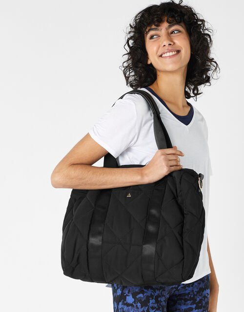 Becca Quilted Gym Bag, Black (BLACK), large