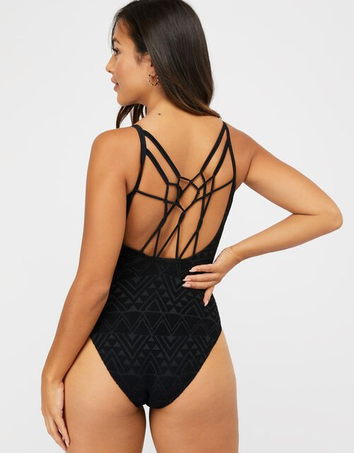 Macrame Swimsuit, Black (BLACK), large