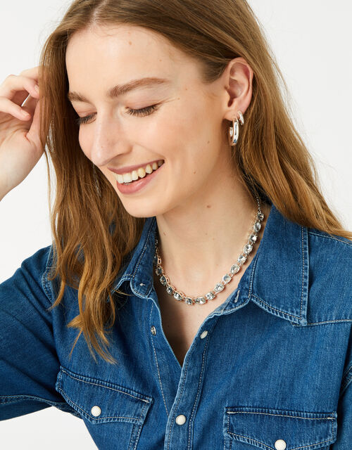 Berry Blush Mix Stone Collar Necklace, , large