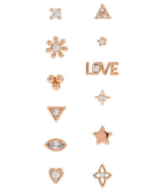 Rose Gold-Plated Sparkle Shape Earring Multipack, , large