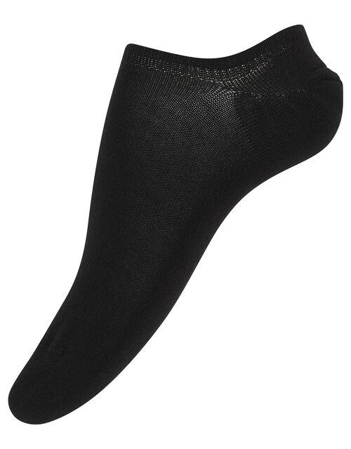 3pk Basic Bamboo Trainer Socks, Black (BLACK), large