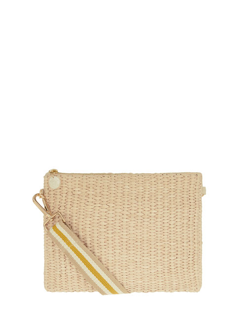 Raffia Stripe Strap Bag, , large