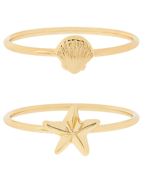 Shell and Starfish Stacking Ring Set, Gold (GOLD), large