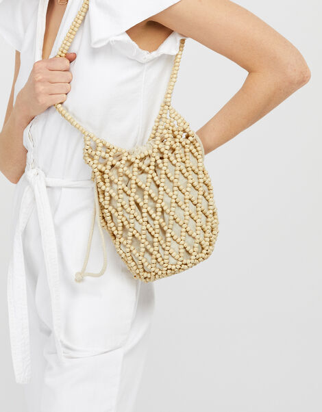 Beaded Shoulder Bag with Drawstring Pouch, , large
