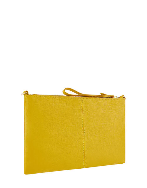 Carmela Leather Cross Body Bag, Yellow (YELLOW), large