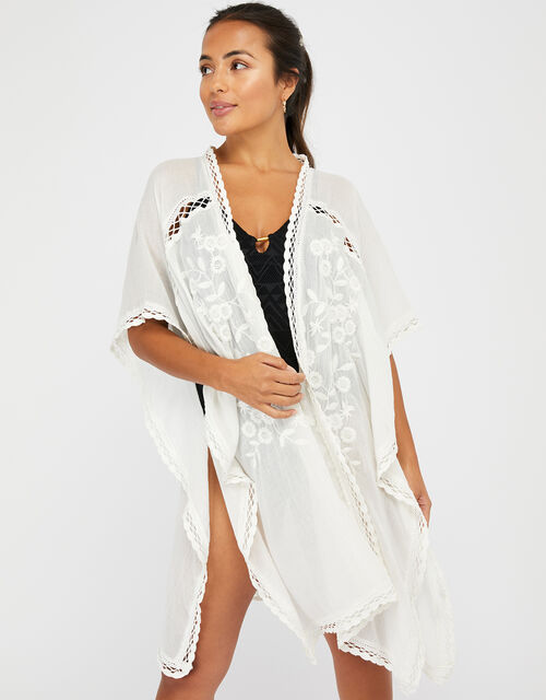 Cotton Kimono with Lace and Floral Embroidery, Cream (CREAM), large