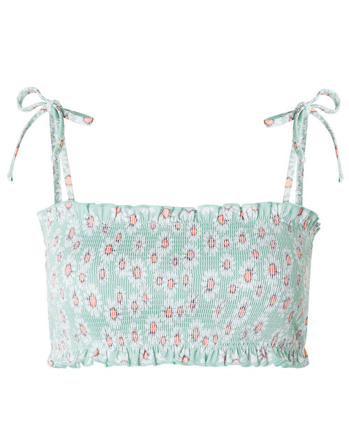 Daisy Smocked Bandeau Bikini Top with Recycled Polyester, Green (MINT), large