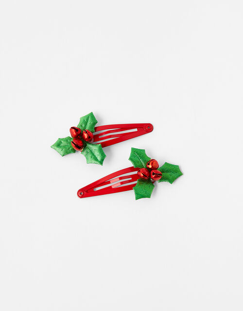 Holly Jingle Bell Christmas Hair Clips, , large
