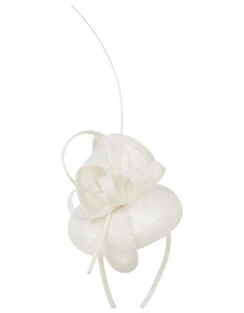 Loops and Quill Pill Box Fascinator Headband, Natural (IVORY), large