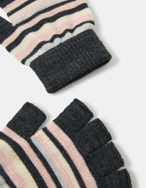 Stripe Fingerless Knit Gloves, Multi (PASTEL-MULTI), large
