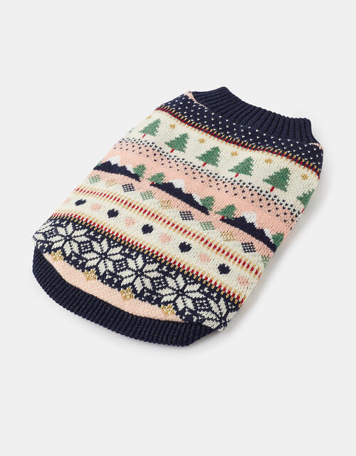 Alpine Fair Isle Knit Dog Jumper, Blue (NAVY), large