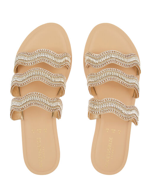 Fiji Beaded Sandals, Gold (GOLD), large