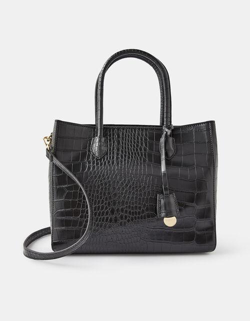 Gemma Croc Bag, Black (BLACK), large