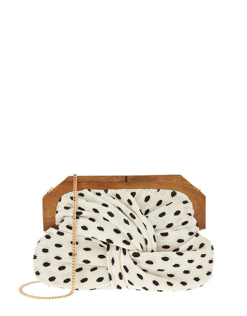 Brooke Pleated Clutch Bag with Wooden Frame, Black (BLACK/WHITE), large