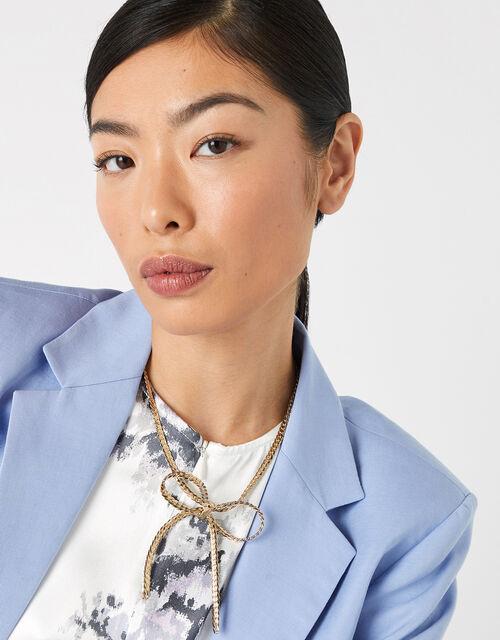 Metallic Bow Collar Necklace, , large