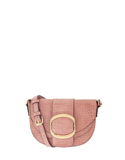 Buckle Saddle Cross-Body Bag, Pink (PINK), large