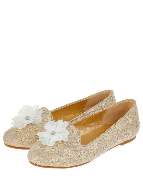 Flower Embroidered Sparkle Flat shoes, Natural (IVORY), large