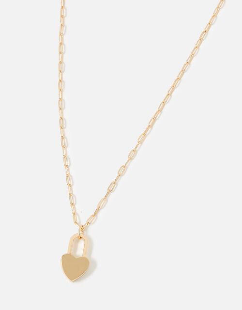 Berry Blush Heart Padlock Necklace, , large