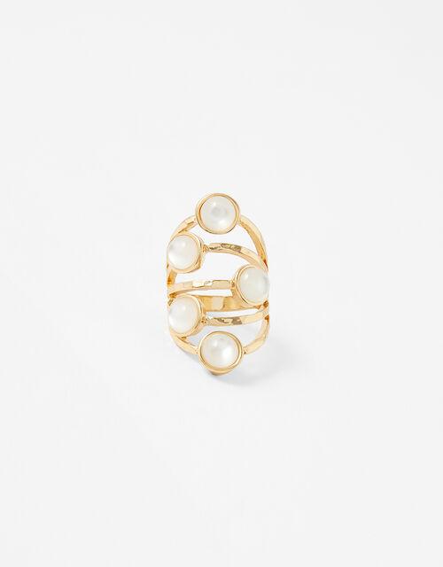 Estella Pearly Stone Ring, Cream (CREAM), large